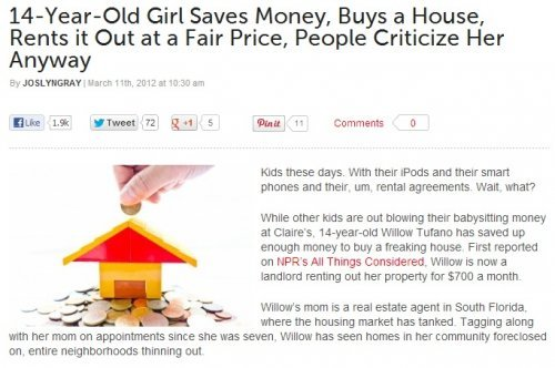 March: Girl Saves Money, Buys House, Rents it Out at Fair Price, and People Inexplicably Criticize Her