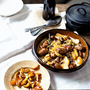 Braised Sausages With Cider, Apples And Mustard