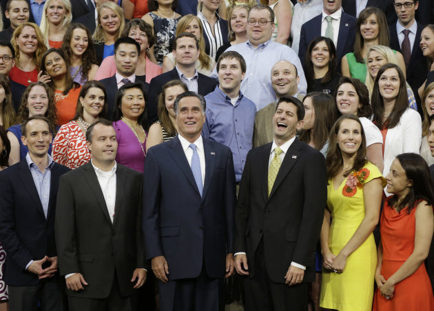 Republican presidential nominee Mitt Romney and Republican vice presidential nominee, Rep. Paul Ryan pose with their campaign staff for a group picture at the Republican National Convention in Tampa,