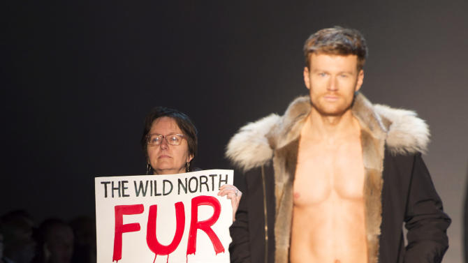 A a protester holds a sign as a model walks the runway in the The Wild North show, during Toronto fashion week in Toronto on Friday, March 27, 2015.  (AP Photo/The Canadian Press, Frank Gunn)