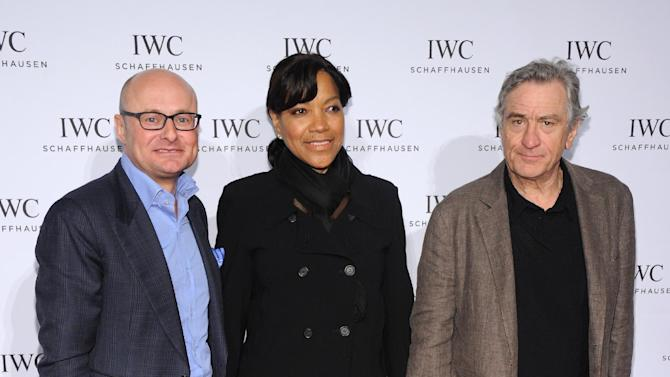 "IMAGE DISTRIBUTED FOR IWC - IWC CEO Georges Kerns, Grace Hightower and Robert De Niro attend the IWC and Tribeca Film Festival Celebrate ""For the Love of Cinema"" in New York city on Thursday, April 18, 2013.  (Jamie McCarthy for IWC/Photopress via AP Images)"