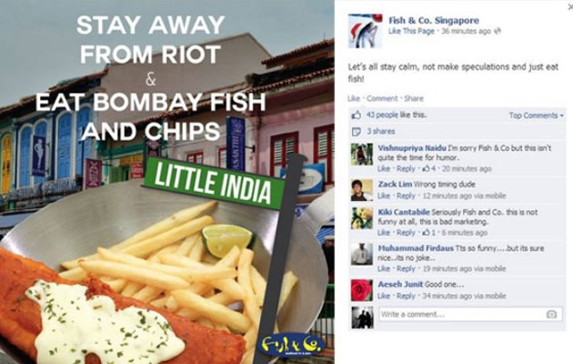 "Seafood restaurant Fish & Co. Singapore apologised on Tuesday after being slammed online for running an ""insensitive"" meal advertisement on its Facebook page. (Mothership screengrab)"
