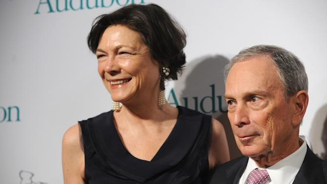 New York City Mayor Michael Bloomberg and Diana Taylor attend The National Audubon Society's first gala to jointly award the Audubon Medal and the inaugural Dan W. Lufkin Prize for Environmental Leadership, Thursday, Jan. 17, 2013, in New York.  (Photo by Diane Bondareff/Invision for The National Audubon Society/AP Images)