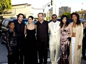 Premiere: Jada Pinkett Smith, Keanu Reeves, Carrie Anne Moss Hugo Weaving, Laurence Fishburne, Monica Bellucci and Gina Torres get their pose on at the Hollywood premiere of Warner Brothers' The Matri
