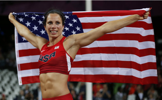 United States' Jennifer Suhr celebrates winning gold in the women's pole vault final during the athletics in the Olympic Stadium at the 2012 Summer Olympics, London, Monday, Aug. 6, 2012. (AP Photo/Ma