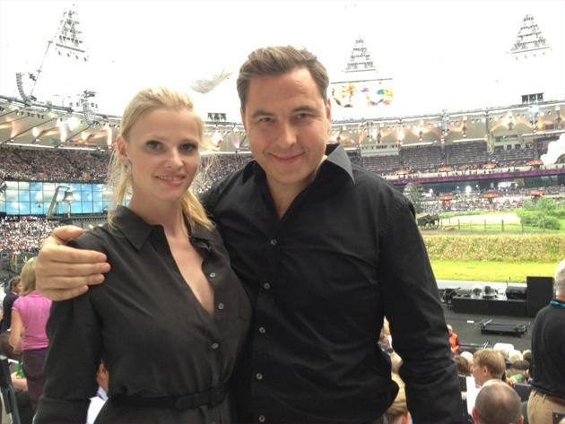 Celebrity photos: Some of the celebs got the chance to attend the Olympics Opening Ceremony. David Walliams tweeted this cute photo of him and his model wife Lara Stone at the event.