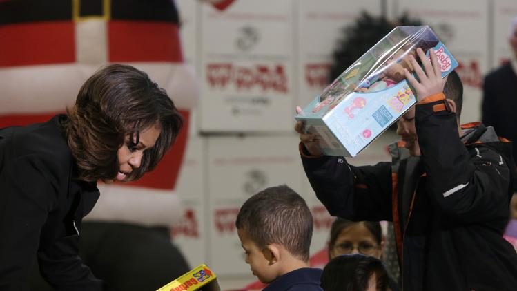 US First Lady Michelle Obama participates in Toys for Tots holiday campaign in Washington