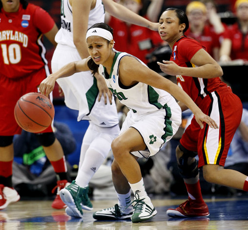 Notre Dame's Skylar Diggins and Maryland's Brene Moseley, rear, watch a loose ball during the first half of an NCAA womens' college basketball tournament regional final in Raleigh, N.C., Tuesday, March 27, 2012. (AP Photo/Gerry Broome)
