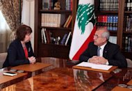"A picture released by the Lebanese photo agency Dalati and Nohra on October 23 shows Lebanese President Michel Sleiman (right) with European Union foreign policy chief Catherine Ashton at the presidential palace in Baabda. Ashton said during her visit to Beirut on Tuesday that ""there are some who are trying to divert attention from the situation in the region by causing problems in Lebanon."""