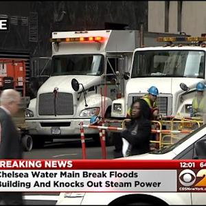 Major Water Main Break In Midtown Causes Flooding Near Herald Square
