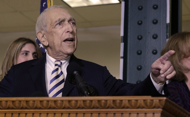 Sen. Frank Lautenberg, the oldest member of the U.S. Senate, tells a gathering Friday, Feb. 15, 2013, in his hometown of Paterson, N.J., that he plans to retire at the end of his current term. The 89-year-old says he&#39;ll fight for gun control, against global warming and press to ensure working families are not left behind. His decision eliminates a probable primary battle with Cory Booker, the charismatic mayor or Newark, and possibly others including Democratic Rep. Frank Pallone, who is also mulling a run. (AP Photo/Mel Evans)