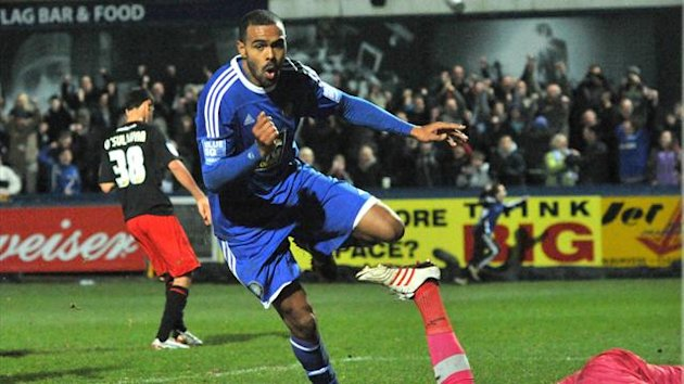 Macclesfield Town&#39;s Matthew Barnes-Homer celebrates scoring their winning goal Macclesfield Town v Cardiff City