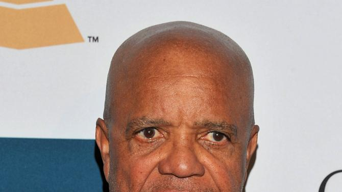 """FILE - This Feb. 11, 2012, file photo shows Motown Records founder Berry Gordy Jr. in Beverly Hills, Calif. A musical based on the life of legendary Motown Records founder Berry Gordy is set to open on Broadway next year. Brandon Victor Dixon, who portrays Gordy, and Valisia LeKae, who plays its signature songstress, Diana Ross, visited the Motown Museum on Tuesday, Nov. 27, 2012, ahead of their upcoming Broadway musical about Motown Records. """"Motown: The Musical"""" begins its run of preview performances March 11 ahead of the official opening on April 14 at New York's Lunt-Fontanne Theatre. (AP Photo/Vince Bucci, File)"""