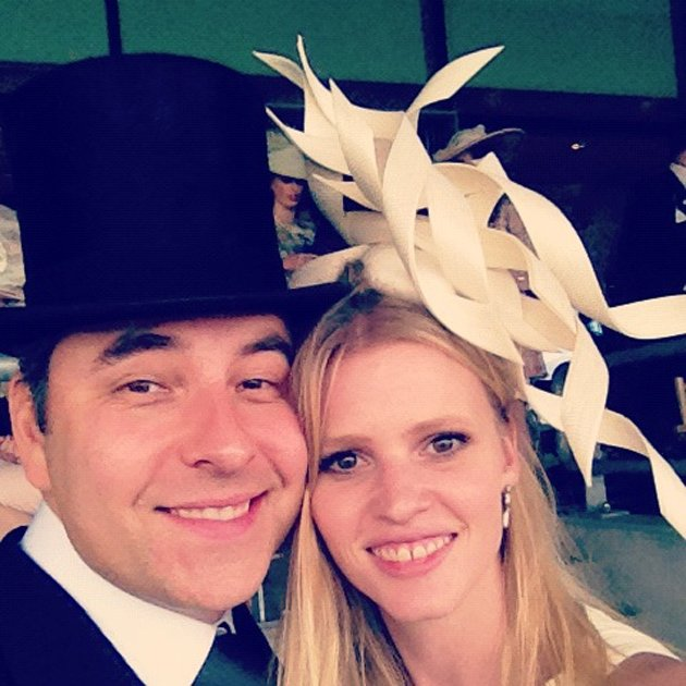 Celebrity photos: David Walliams and his wife, Lara Stone got their glad rags on this week as they presented awards at Ascot. David then tweeted this photo of the glammed up pair. Copyright [David Wal