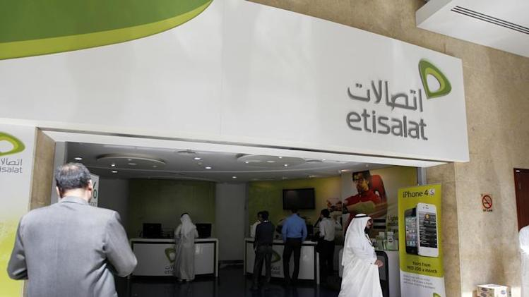 Customer walks out of an Etisalat shop at the Dubai World Trade Centre