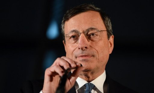 <p>European Central Bank President Mario Draghi speaks during a press conference in the Bundestag on October 24 in Berlin. Draghi on Sunday threw his weight behind a German scheme to allow the EU to intervene in countries' budgets and propose changes before they are agreed in parliaments.</p>
