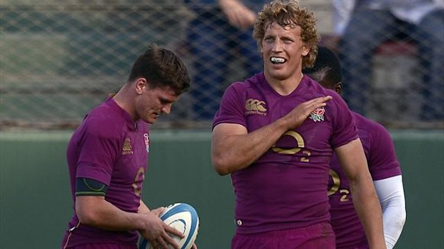 ARGENTINA, Salta : England's centre Billy Twelvetrees (R) celebrates after scoring a try against Argentina's Los Pumas, during their rugby union international test match at Padre Ernesto Martearena stadium in Salta, Argentina (AFP)