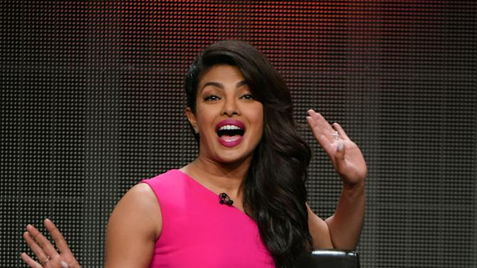 """Priyanka Chopra speaks during the """"Quantico"""" panel at the Disney/ABC Summer TCA Tour at the Beverly Hilton Hotel on Tuesday, Aug. 4, 2015 in Beverly Hills, Calif. (Photo by Richard Shotwell/Invision/AP)"""