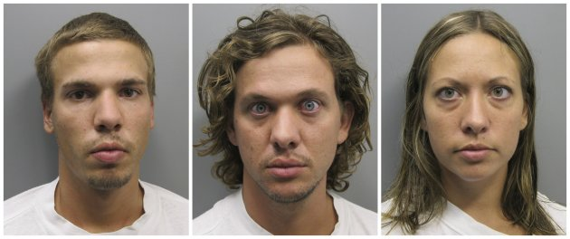 FILE - This photo combo made from file photos provided Wednesday, Aug. 10, 2011 by the Pueblo County Sheriff's Office shows, from left, Ryan Edward Dougherty, 21, Dylan Stanley-Dougherty, 26, and Lee