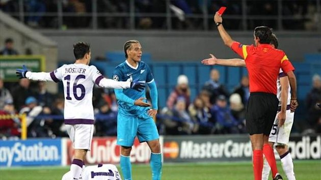 Axel Witsel is sent off for Zenit against Austria Vienna (Imago - not for use in Austria, Switzerland, Italy, Sweden)