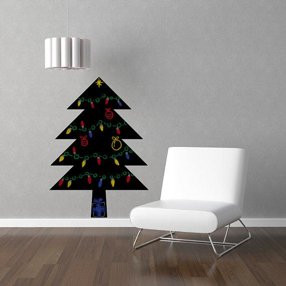 etsy chalkboard decal Space-saving Christmas tree alternatives