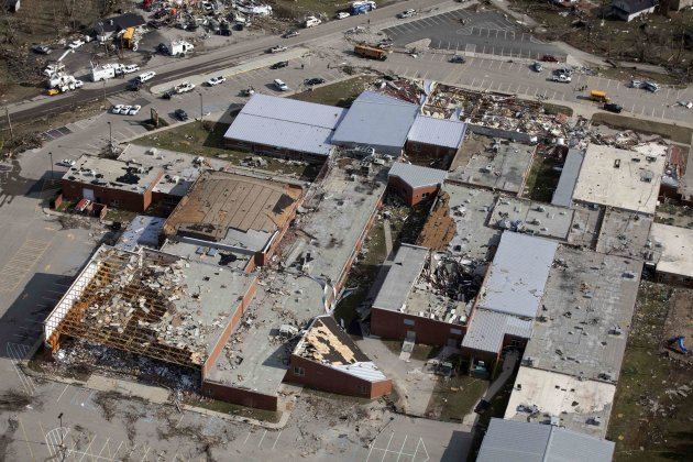 An aerial view shows wrecked buildings in the wake of a tornado in Henryville, Indiana