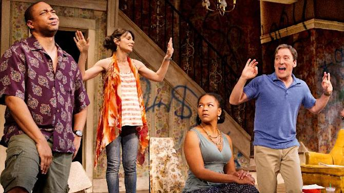"""In this theater image released by O+M Co., from left, Damon Gupton, Annie Parisse, Crystal A. Dickinson, and Jeremy Shamos are shown in a scene from """"Clybourne Park,"""" at the Walter Kerr Theatre, in New York.  (AP Photo/The O+M Co., Nathan Johnson Photography)"""