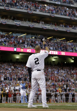 Jeter waves as he is taken out of the All-Star Game. (AP)