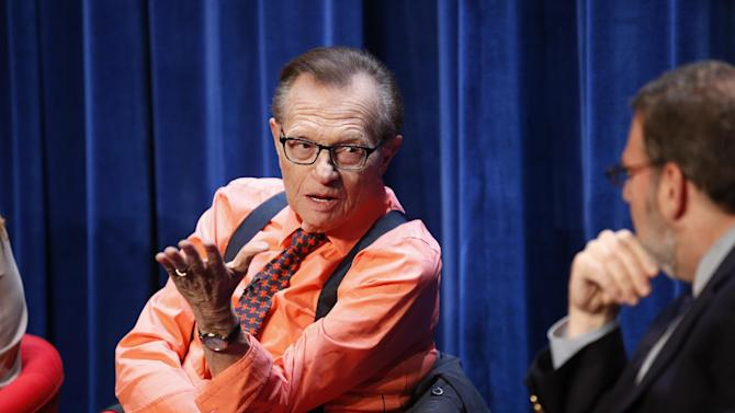 """IMAGE DISTRIBUTED FOR DISCOVERY COMMUNICATIONS - Legendary journalist Larry King speaks to Brian Lowry, TV Critic, Variety, as a part of a panel during the """"OJ: Trial of the Century"""" Premiere at The Paley Center for Media in Beverly Hills, Calif. on Thursday, June 12, 2014. (Danny Moloshok/ AP Images for Discovery Communications Inc.)"""