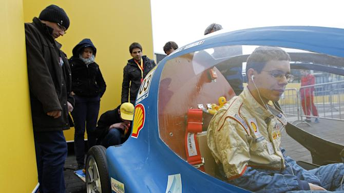 IMAGE DISTRIBUTED FOR SHELL - The Urban One, vehicle No. 603, UrbanConcept, running on Hydrogen, competing for team Ensem Eco Marathon (E2M) from ENSEM, France, is seen before a Day 3 practice run of the Shell Eco-marathon Europe at The Ahoy centre in Rotterdam, The Netherlands on Friday, May 17, 2013. Teams from universities all over Europe have brought their energy efficient cars to compete in the challenge. (Bas Czerwinski/AP Images for Shell)