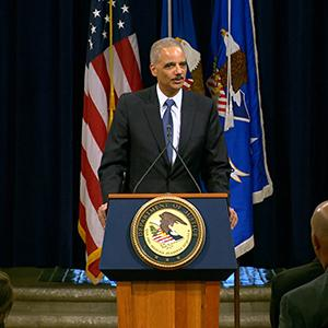 Eric Holder Bids Farewell to Justice Dept.