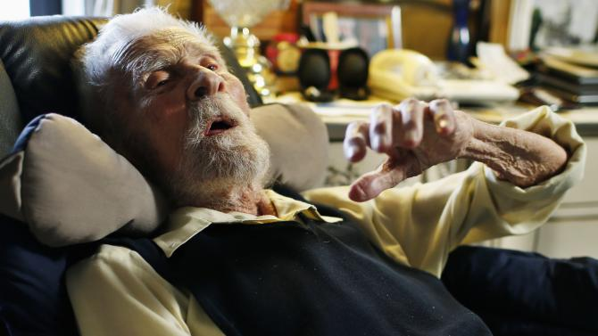 Alexander Imich, the world's oldest living man, during an interview with Reuters at his home on New York City's upper west side