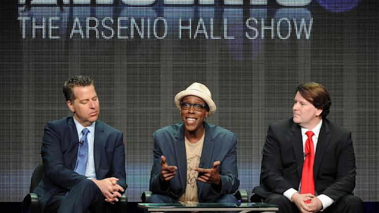 "FILE - In this July 29, 2013 file photo, from left, executive producer Neal Kendall, host/executive producer Arsenio Hall and executive producer John Ferriter participate in the ""The Arsenio Hall Show"" panel at the 2013 CBS Summer TCA Press Tour at the Beverly Hilton Hotel in Beverly Hills, Calif. CBS Television Distribution says ""The Arsenio Hall Show"" is going off the air. The company said Friday, May 30, 2014, that the freshman talk show had failed to increase its audience and won't be back for a second year. (Photo by Frank Micelotta/Invision/AP, file)"