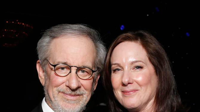 Steven Spielberg and Kathleen Kennedy attend the 24th Annual Producers Guild (PGA) Awards at the Beverly Hilton Hotel on Saturday Jan. 26, 2013, in Beverly Hills, Calif. (Photo by Todd Williamson/Invision for Producers Guild/AP Images)
