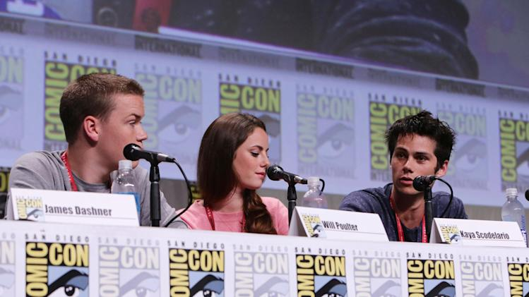 Will Poulter, Kaya Scodelario and Dylan O'Brien seen at Twentieth Century Fox Panel at 2014 Comic-Con on Friday, July 25, 2014, in San Diego, Calif. (Photo by Eric Charbonneau/Invision for Twentieth Century Fox/AP Images)