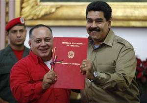 Venezuelan President Maduro receives document approving law granting him with decree powers in Caracas
