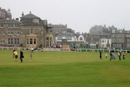 Golfers at St. Andrews in Scotland.