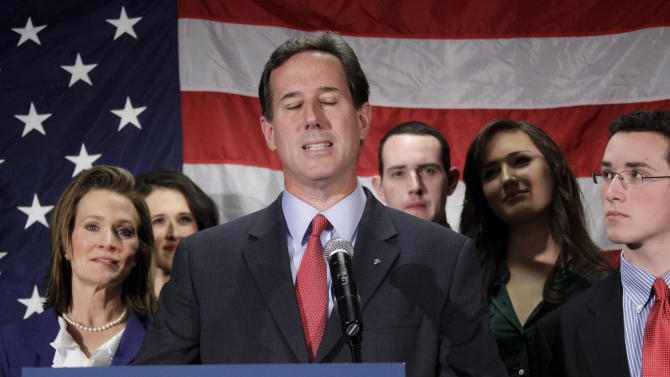 Surrounded by his family Republican presidential candidate, former Pennsylvania Sen. Rick Santorum announces he is suspending his candidacy in Gettysburg, Pa., Tuesday, April 10, 2012.  (AP Photo/Gene J. Puskar)