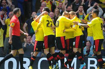 Watford 3-1 Leicester City (Agg 3-2): Last-gasp Deeney winner seals playoff final place for Hornets