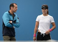 Li Na, pictured with her coach Carlos Rodriguez, during a training session in Melbourne, on January 13, 2013. Australian Open finalist and former French Open champion Li said on Thursday she is confident she can use her hard-won experience to hold off the emerging generation of players as she chases more Grand Slam glory