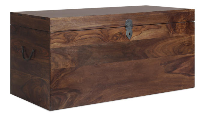 In this photo provided by Boston Interiors, crafted in warm Himalayan sheesham wood, the Plantation storage trunk offers capacious storage, while serving as a handsome coffee table.  It's a good option for mobile Millennials who may want to invest in versatile furniture that can be easily moved from home to home. (Boston Interiors via AP)