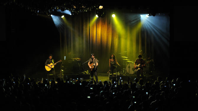 Grammy award winner Juanes performs at a private concert presented by tour sponsors MetroPCS & ZTE, on Monday, February, 11, 2013 at the El Rey Theatre in Los Angeles. (Photo by Chris Pizzello/Invision for MetroPCS/AP Images)