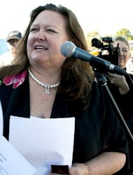 File photo of Australian mining magnate Gina Rinehart speaking at a rally in Perth. Rinehart, who is worth Aus$29.17 billion (US$29.20 billion) according to an annual index by Business Review Weekly, has so far been unable to secure a seat on the Fairfax board despite being the company's biggest shareholder