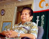 Ghazali Jaafar, deputy chief of the Moro Islamic Liberation Front (MILF), pictured in 2004 at his base in Sultan Kudarat town on Mindanao island. The agreement calls for a new semi-autonomous Muslim area in Mindanao, which the 12,000-strong MILF regards as its ancestral homeland