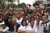 Supporters of former presidential candidate Andres Manuel Lopez Obrador cheer as they listen to Lopez Obrador during an act to protest against the governments proposed energy reforms that would allow private companies to explore the country's oil and gas reserves, in Mexico City, Sunday Sept. 8, 2013. The proposed reform requires constitutional changes that strike at the heart of one of Mexico's proudest moments: President Lazaro Cardenas' nationalization of the oil company in 1938. (AP Photo/Marco Ugarte)