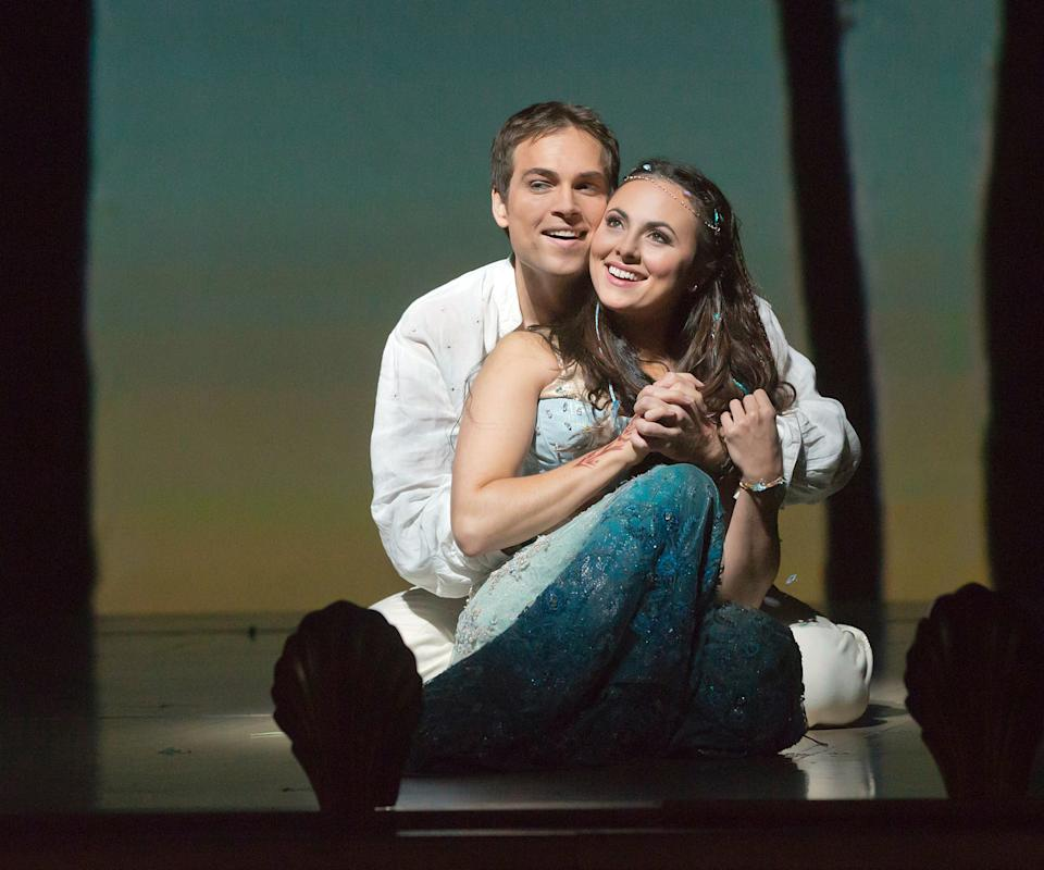"In this Oct. 15, 2012 photo provided by the Metropolitan Opera, Alek Shrader is Ferdinand and Isabel Leonard plays Caliban during a dress rehearsal of Thomas Adès's ""The Tempest,"" at the Metropolitan Opera in New York. (AP Photo/Metropolitan Opera, Ken Howard)"