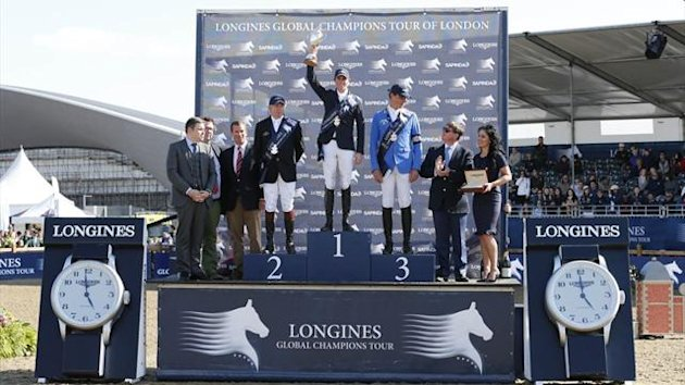 The podium at the Longines Global Champions Tour in London (Photo credit: Stefano Grasso / Longines Global Champions Tour)
