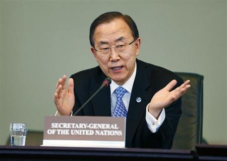 U.N. Secretary-General Ban speaks at a news conference at the Organisation for the Prohibition of Chemical Weapons in the Hague