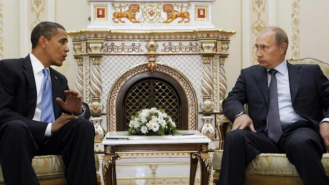 FILE - In this July 7, 2009 file photo, President Barack Obama meets with then- Russian Prime Minister Vladimir Putin in Moscow. President Barack Obama and Russian President Vladimir Putin will use their first meeting Monday June 18, 2012 since Putin returned to the top job to claim leverage on their twin needs: Obama needs Russia to help, or at least not hurt, U.S. foreign policy aims in the Mideast and Afghanistan. Putin needs the United States as a foil for his argument that Russia doesn't get its due as a great power. (AP Photo/Haraz N. Ghanbari, File)