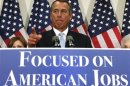 "U.S. House Speaker Boehner speaks during a GOP news conference on the ""fiscal cliff"", in Washington"